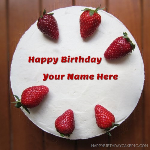 write name on Strawberries Friends Birthday Cake