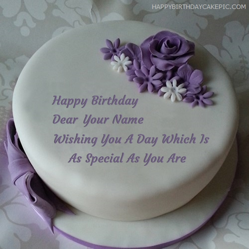 write name on Indigo Rose Happy Birthday Cake