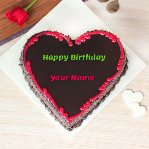 write name on Love Heart Birthday Cake