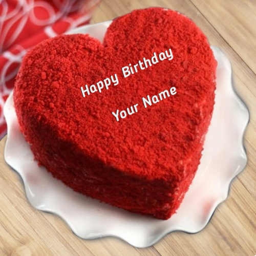 write name on Heart Shaped Red Velvet Birthday Cake