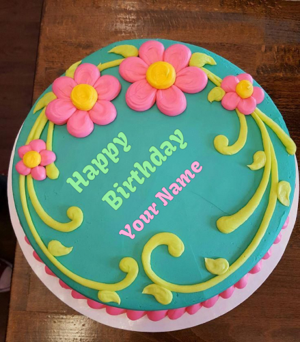 write name on Pink Flower Birthday Cake