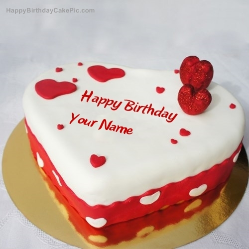 write name on Ice Heart Birthday Cake