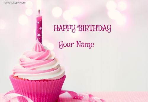 write name on Happy Birthday Cupcake Candle Pink Cake