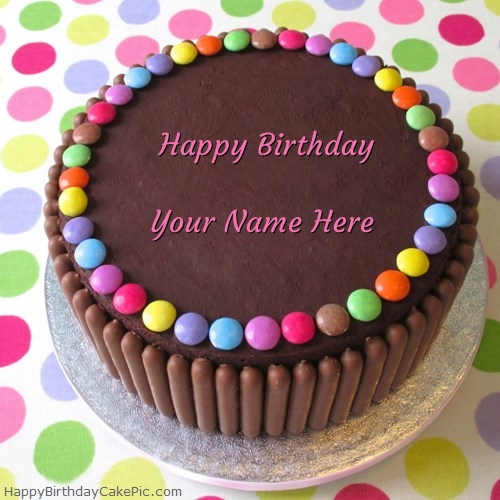 write name on Chocolate Gems Birthday Cake