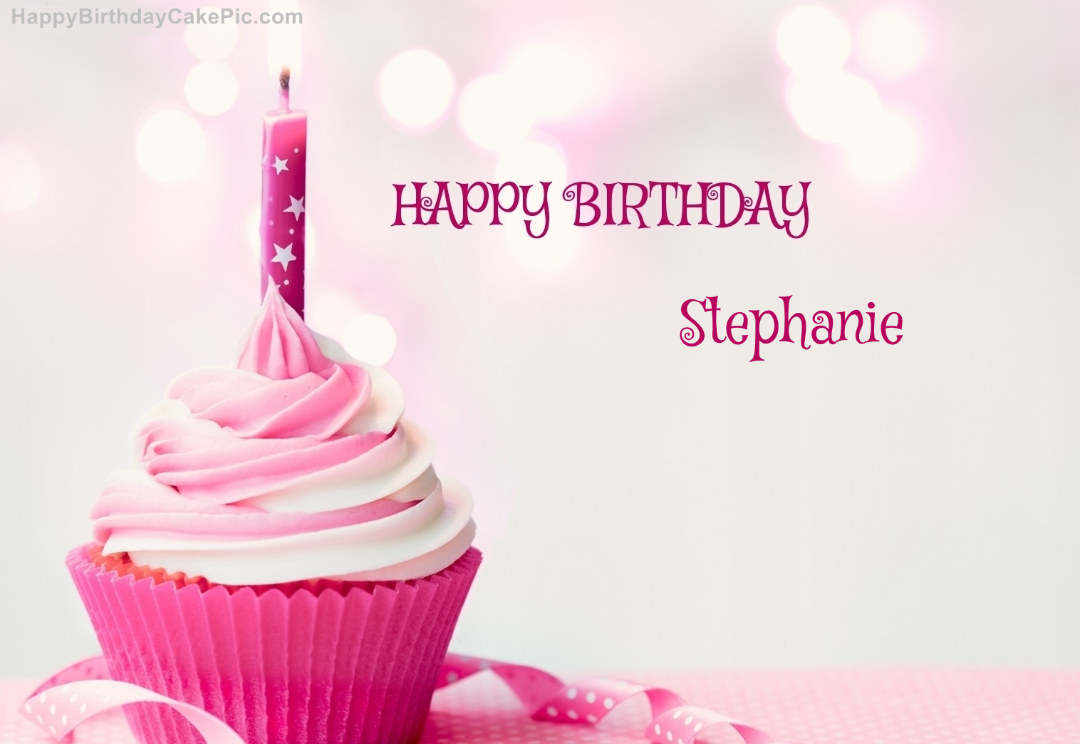 Happy Birthday Cupcake Candle Pink Cake For Stephanie