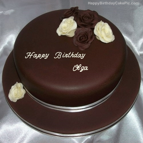 Image result for happy birthday cake chocolate to olga""