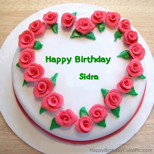 Birthday Cakes With Name Sidra ~ Roses heart birthday cake for sidra