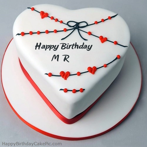 Red White Heart Happy Birthday Cake For MR
