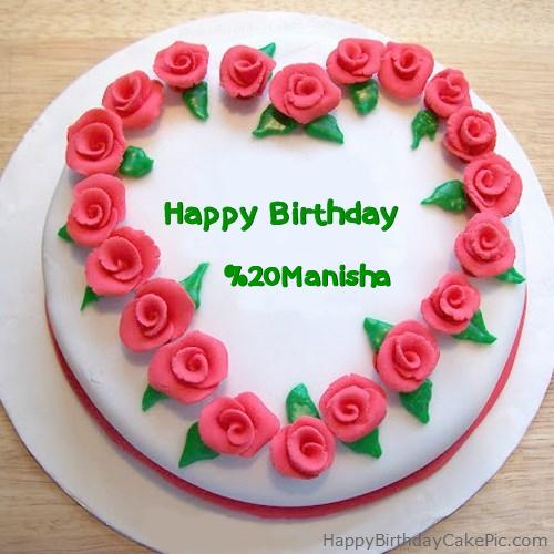 Roses Heart Birthday Cake For Manisha