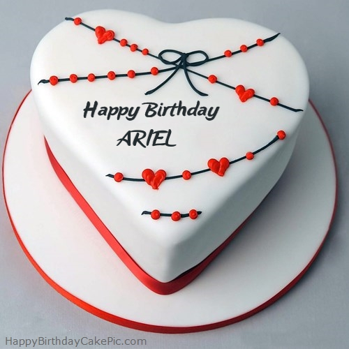 Red White Heart Happy Birthday Cake For ARIEL