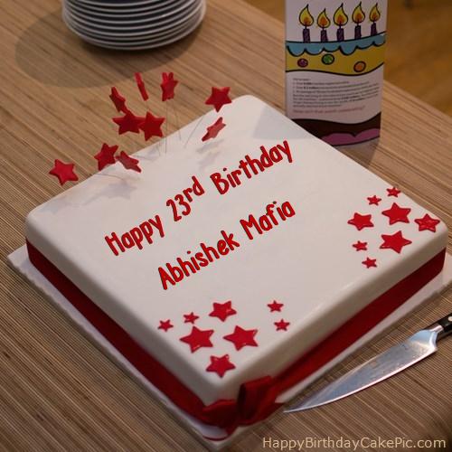 Cake Images With Name Abhishek : Red 23rd Happy Birthday Cake For Abhishek Mafia