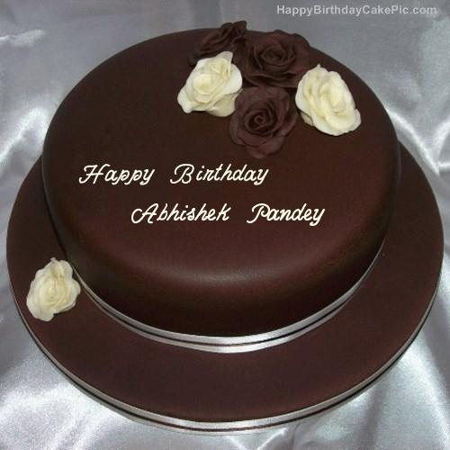 Rose Chocolate Birthday Cake For Abhishek Pandey