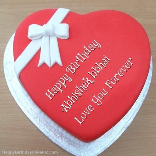 Pink Heart Happy Birthday Cake For Abhishek Bbhai