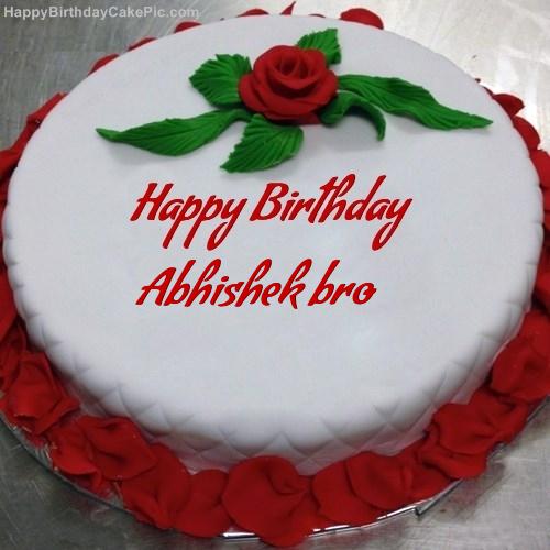 Red Rose Birthday Cake For Abhishek Bro