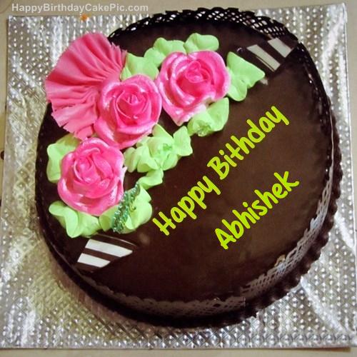 Cake Images With Name Abhishek : Chocolate Birthday Cake For Abhishek