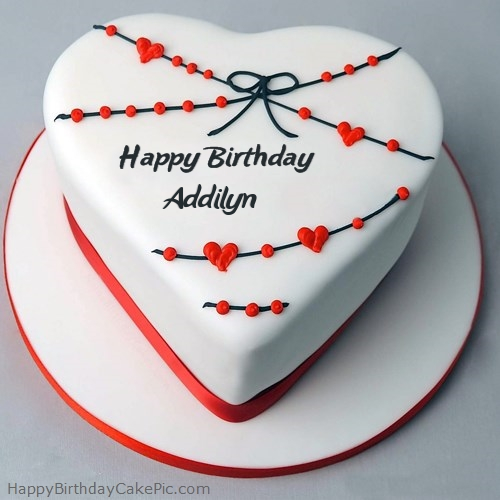 write name on Red White Heart Happy Birthday Cake