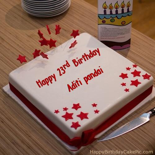 Birthday Cakes Images For Name Aditi ~ Red rd happy birthday cake for aditi pandai
