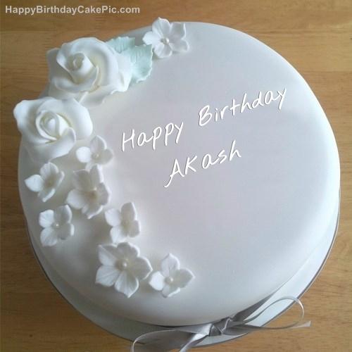 White Roses Birthday Cake For Akash