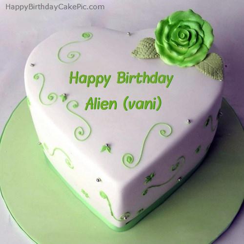 Brilliant Green Heart Birthday Cake For Alien Vani Funny Birthday Cards Online Elaedamsfinfo