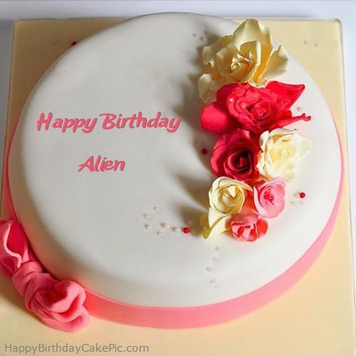 Awe Inspiring Roses Happy Birthday Cake For Alien Funny Birthday Cards Online Elaedamsfinfo