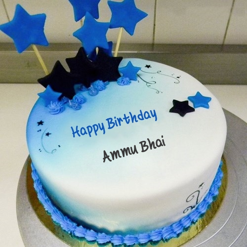 Blue Stars Birthday Cake For Ammu Bhai