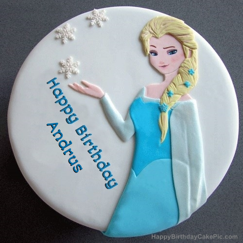 Superb Frozen Elsa Birthday Cake For Andrus Funny Birthday Cards Online Unhofree Goldxyz