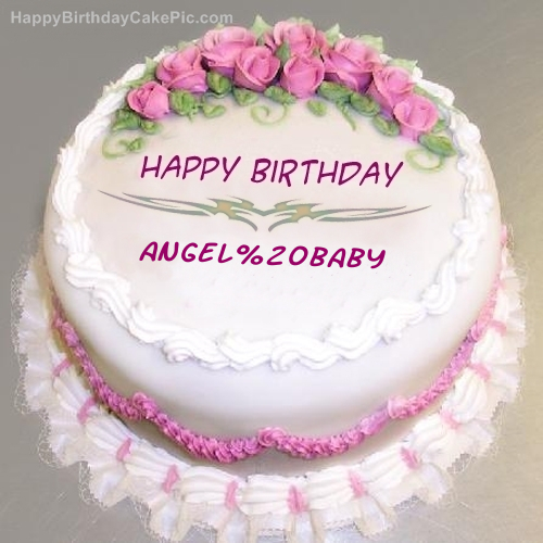 Pink Rose Birthday Cake For Angel Baby