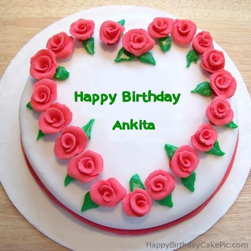 Roses Heart Birthday Cake For Ankita