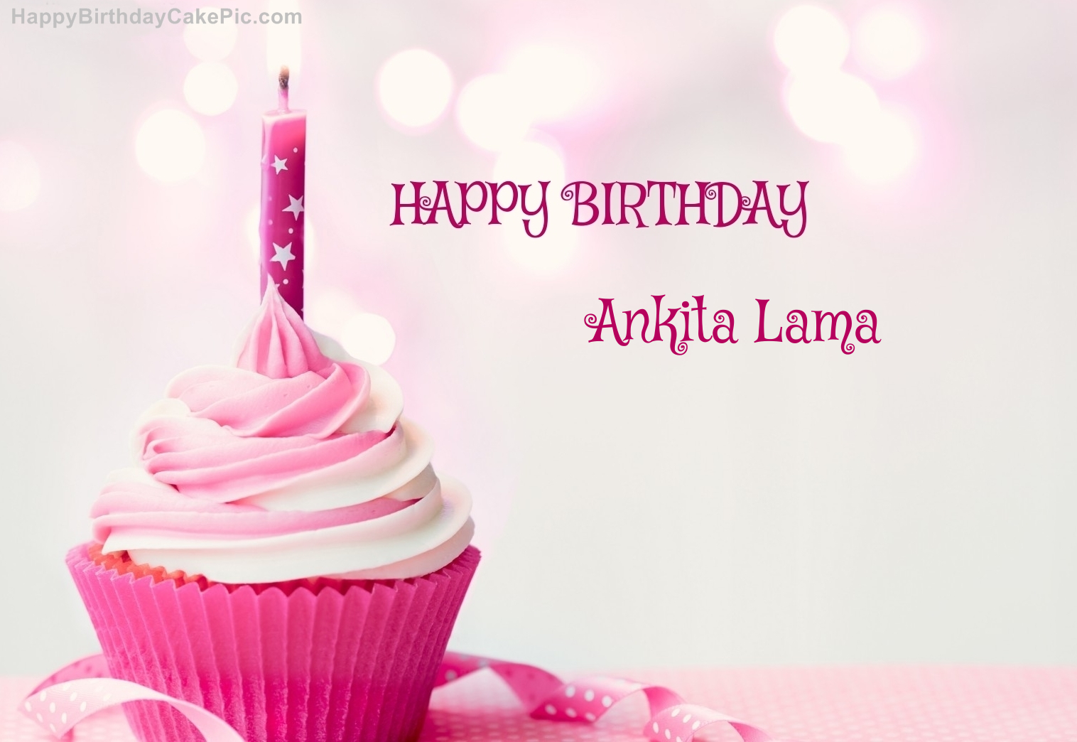 Birthday Cake Images With Name Ankit : Happy Birthday Cupcake Candle Pink Cake For Ankita Lama