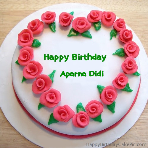 Images Of Birthday Cake For Didi : Roses Heart Birthday Cake For Aparna Didi