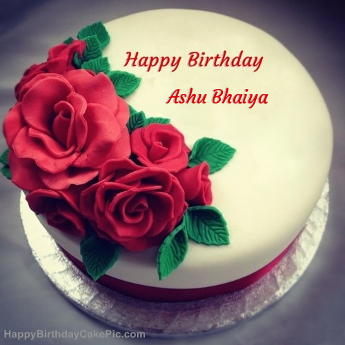 Roses Birthday Cake For Ashu Bhaiya