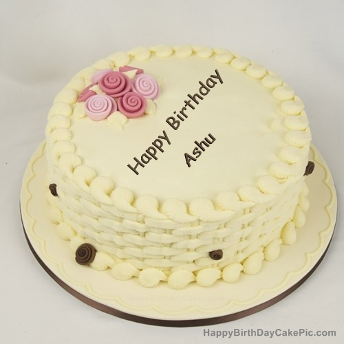 Cake Images With Name Ashu : Happy Birthday Cake for Girls For Ashu...