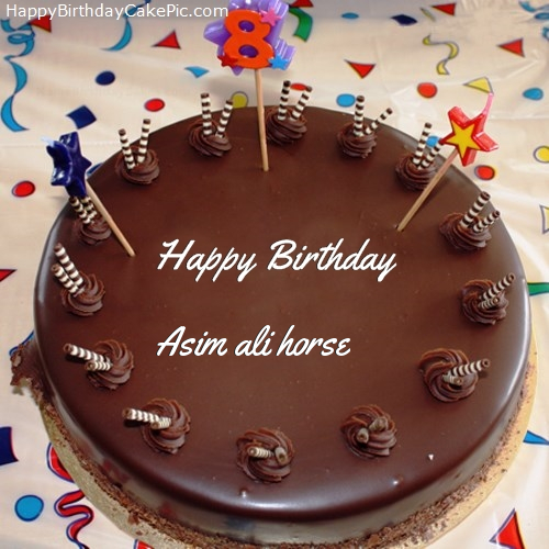 Birthday Cake Pics With Name Ali : 8th Chocolate Happy Birthday Cake For Asim ali horse