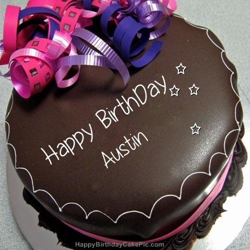 Awe Inspiring Happy Birthday Chocolate Cake For Austin Funny Birthday Cards Online Fluifree Goldxyz
