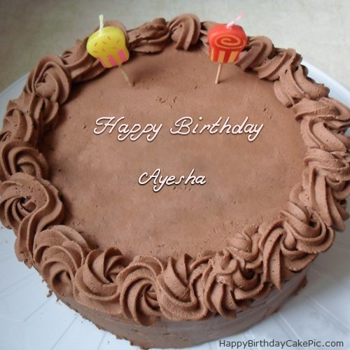 Cake Images With Name Ayesha : Chocolate Birthday Cake For Ayesha