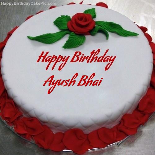 Red Rose Birthday Cake For Ayush Bhai