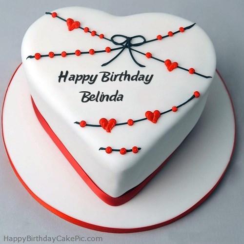 ️ Red White Heart Happy Birthday Cake For Belinda