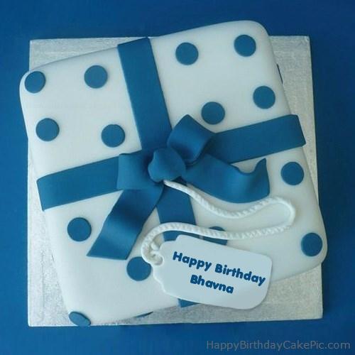 Cake Image With Name Bhavna : Blue Birthday Cake For Bhavna