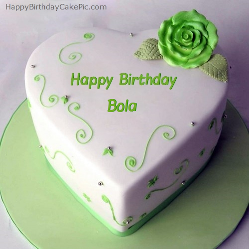 Green Heart Birthday Cake For Bola