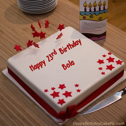 Red 23rd Happy Birthday Cake For Bola