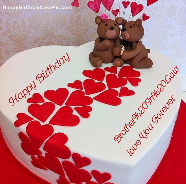 Heart Birthday Wish Cake For Brother In Law