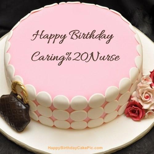 Pink Birthday Cake For Caring Nurse