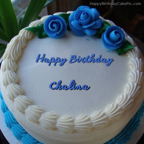 write name on Blue Flower Ice-cream Cake