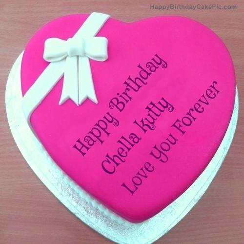 Pink Heart Happy Birthday Cake For Chella Kutty