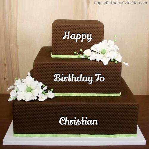 Chocolate Shaped Birthday Cake For Christian