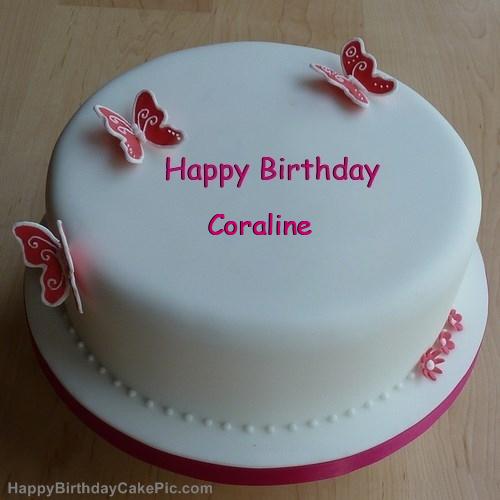 Wondrous Butterflies Girly Birthday Cake For Coraline Funny Birthday Cards Online Inifodamsfinfo