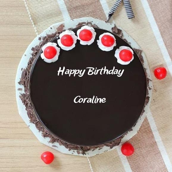 Pleasant Enthralling Black Forest Delight Birthday Cake For Coraline Funny Birthday Cards Online Inifodamsfinfo