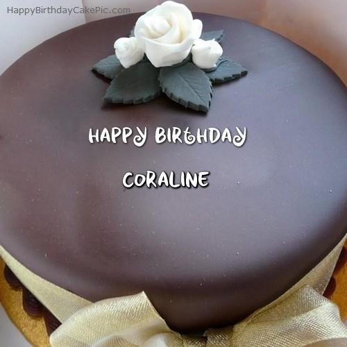 Surprising Beautiful Chocolate Birthday Cake For Coraline Funny Birthday Cards Online Inifodamsfinfo