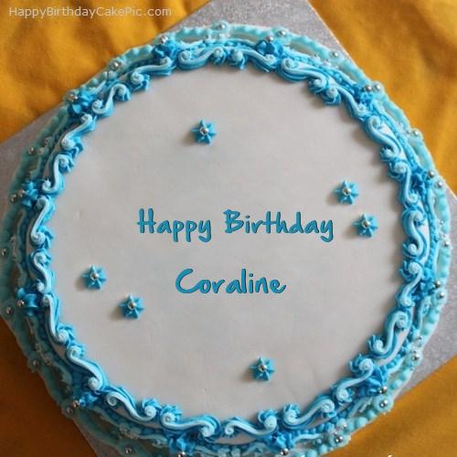 Astonishing Blue Floral Birthday Cake For Coraline Funny Birthday Cards Online Inifodamsfinfo