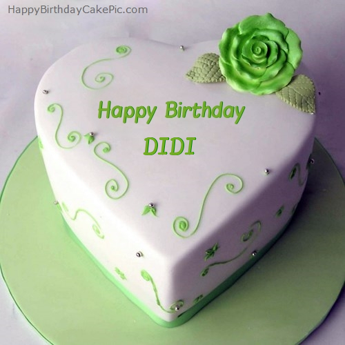 Images Of Birthday Cake For Didi : Green Heart Birthday Cake For DIDI